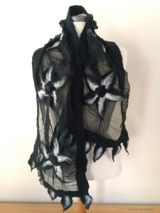 Black and white nuno hand felted scarf
