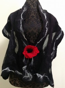 Black wrap with red poppy 1