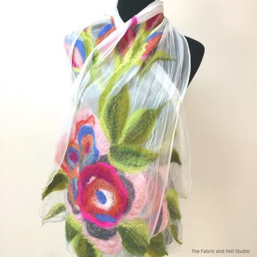 White nuno rosette scarf