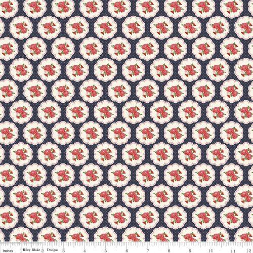 riley blake posy garden scallop navy