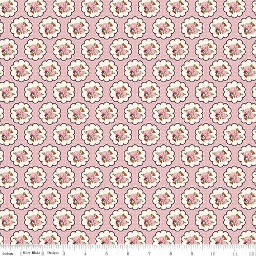 riley blake posy garden scallop pink