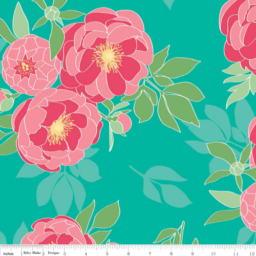 The Cottage Garden Main Teal Laminate