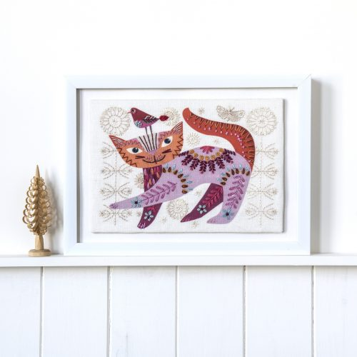 Cat Pink Embroidery Kit